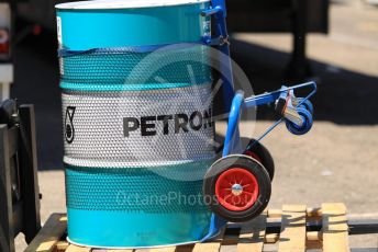 World © Octane Photographic Ltd. Formula 1 – Spanish In-season testing. Mercedes AMG Petronas Motorsport AMG F1 fuel drum. Circuit de Barcelona Catalunya, Spain. Tuesday 14th May 2019.