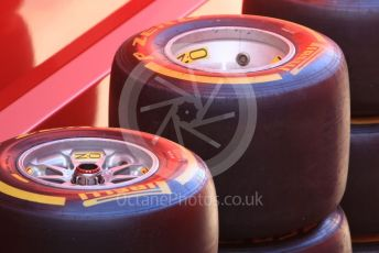 World © Octane Photographic Ltd. Formula 1 – Spanish In-season testing. Scuderia Ferrari SF90 wheels and tyres. Circuit de Barcelona Catalunya, Spain. Tuesday 14th May 2019.