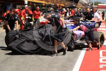 World © Octane Photographic Ltd. Formula 1 – Spanish GP. Practice 1. SportPesa Racing Point RP19 – Lance Stroll damaged car gets returned to the pit lane. Circuit de Barcelona Catalunya, Spain. Friday 10th May 2019.