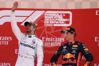 World © Octane Photographic Ltd. Formula 1 – Spanish GP. Podium. Mercedes AMG Petronas Motorsport AMG F1 W10 EQ Power+ - Lewis Hamilton with Aston Martin Red Bull Racing RB15 – Max Verstappen. Circuit de Barcelona Catalunya, Spain. Sunday 12th May 2019.