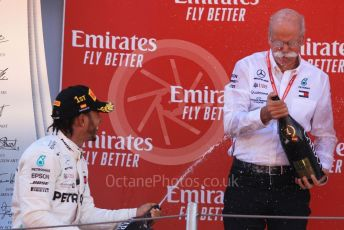 World © Octane Photographic Ltd. Formula 1 – Spanish GP. Podium. Mercedes AMG Petronas Motorsport AMG F1 W10 EQ Power+ - Lewis Hamilton and Dieter Zetsche – Chairman of the management board of Mercedes - Benz . Circuit de Barcelona Catalunya, Spain. Sunday 12th May 2019.