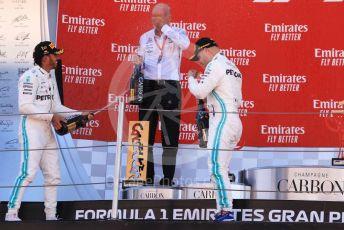 World © Octane Photographic Ltd. Formula 1 – Spanish GP. Podium. Mercedes AMG Petronas Motorsport AMG F1 W10 EQ Power+ - Lewis Hamilton, Valtteri Bottas and Dieter Zetsche – Chairman of the management board of Mercedes - Benz. Circuit de Barcelona Catalunya, Spain. Sunday 12th May 2019.