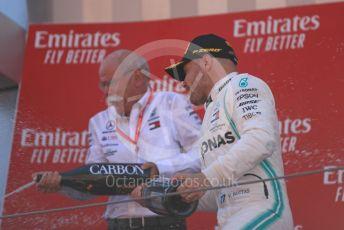 World © Octane Photographic Ltd. Formula 1 – Spanish GP. Podium. Mercedes AMG Petronas Motorsport AMG F1 W10 EQ Power+ - Valtteri Bottas and Dieter Zetsche – Chairman of the management board of Mercedes - Benz . Circuit de Barcelona Catalunya, Spain. Sunday 12th May 2019.