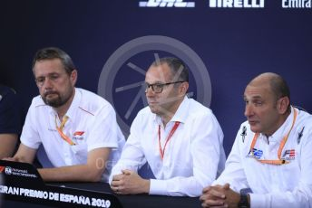 World © Octane Photographic Ltd. Formula 1 – Spanish GP. F2 18inch tyre Press Conference.  Steve Nielsen – Formula 1 Sporting Director, Stefano Domenicali – President of FIA Single-Seater Commission, Bruno Michel – CEO, FIA Formula 2 Championship. Circuit de Barcelona Catalunya, Spain. Thursday 9th May 2019.