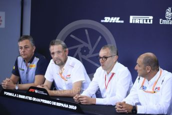 World © Octane Photographic Ltd. Formula 1 – Spanish GP. F2 18inch tyre Press Conference.  Mario Isola – Pirelli Head of F1 and Car Racing, Steve Nielsen – Formula 1 Sporting Director, Stefano Domenicali – President of FIA Single-Seater Commission, Bruno Michel – CEO, FIA Formula 2 Championship. Circuit de Barcelona Catalunya, Spain. Thursday 9th May 2019.