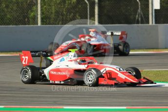 World © Octane Photographic Ltd. FIA Formula 3 (F3) – Spanish GP – Practice. Prema Racing - Jehan Daravula and Robert Shwartzman. Circuit de Barcelona-Catalunya, Spain. Friday 10th May 2019.