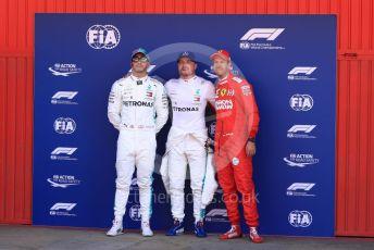 World © Octane Photographic Ltd. Formula 1 – Spanish GP. Qualifying. Mercedes AMG Petronas Motorsport AMG F1 W10 EQ Power+ - Valtteri Bottas followed by his team mate Lewis Hamilton and Scuderia Ferrari SF90 – Sebastian Vettel. Circuit de Barcelona Catalunya, Spain. Saturday 11th May 2019.