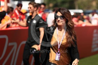 World © Octane Photographic Ltd. Formula 1 – Spanish GP. Paddock. Rich Energy Haas F1 Team VF19 – Romain Grosjeans wife Marion Jolles. Circuit de Barcelona Catalunya, Spain. Sunday 12th May 2019.