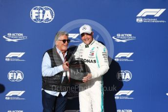 World © Octane Photographic Ltd. Formula 1 – United States GP - Qualifying. Mercedes AMG Petronas Motorsport AMG F1 W10 EQ Power+ - Valtteri Bottas with Mario Andretti. Circuit of the Americas (COTA), Austin, Texas, USA. Saturday 2nd November 2019.