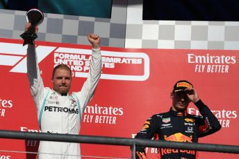 World © Octane Photographic Ltd. Formula 1 – United States GP - Podium. Mercedes AMG Petronas Motorsport AMG F1 W10 EQ Power+ - Valtteri Bottas with Aston Martin Red Bull Racing RB15 – Max Verstappen. Circuit of the Americas (COTA), Austin, Texas, USA. Sunday 3rd November 2019.