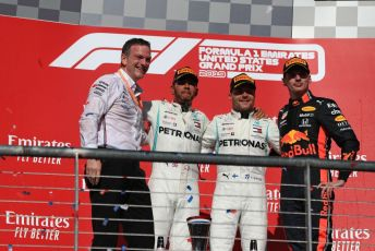 World © Octane Photographic Ltd. Formula 1 – United States GP - Podium. Mercedes AMG Petronas Motorsport AMG F1 W10 EQ Power+ - Valtteri Bottas, Lewis Hamilton and Technical Director James Allison  with Aston Martin Red Bull Racing RB15 – Max Verstappen. Circuit of the Americas (COTA), Austin, Texas, USA. Sunday 3rd November 2019.