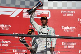 World © Octane Photographic Ltd. Formula 1 – United States GP - Podium. Mercedes AMG Petronas Motorsport AMG F1 W10 EQ Power+ - Valtteri Bottas and Lewis Hamilton. Circuit of the Americas (COTA), Austin, Texas, USA. Sunday 3rd November 2019.