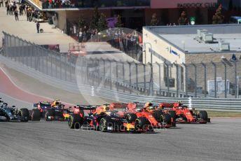 World © Octane Photographic Ltd. Formula 1 – United States GP - Race. Aston Martin Red Bull Racing RB15 – Max Verstappen ahead of Scuderia Ferrari SF90 – Sebastian Vettel and Charles Leclerc. Circuit of the Americas (COTA), Austin, Texas, USA. Sunday 3rd November 2019.