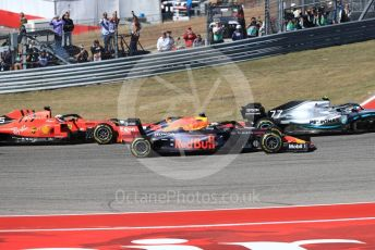 World © Octane Photographic Ltd. Formula 1 – United States GP - Race. Aston Martin Red Bull Racing RB15 – Max Verstappen ahead of Scuderia Ferrari SF90 – Sebastian Vettel. Circuit of the Americas (COTA), Austin, Texas, USA. Sunday 3rd November 2019.