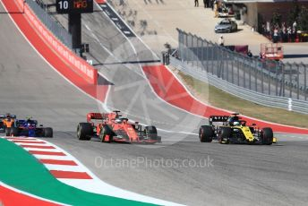 World © Octane Photographic Ltd. Formula 1 – United States GP - Race. Renault Sport F1 Team RS19 – Daniel Ricciardo and Scuderia Ferrari SF90 – Sebastian Vettel. Circuit of the Americas (COTA), Austin, Texas, USA. Sunday 3rd November 2019.