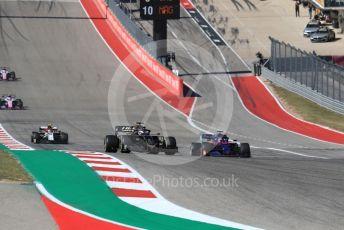 World © Octane Photographic Ltd. Formula 1 – United States GP - Race. Haas F1 Team VF19 – Romain Grosjean and Scuderia Toro Rosso STR14 – Daniil Kvyat. Circuit of the Americas (COTA), Austin, Texas, USA. Sunday 3rd November 2019.