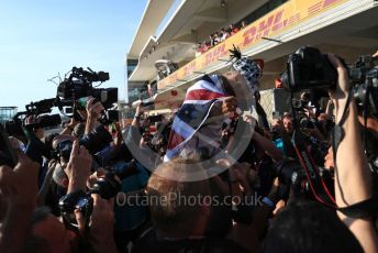 World © Octane Photographic Ltd. Formula 1 – United States GP – 6th Drivers' World Championship celebration. Mercedes AMG Petronas Motorsport AMG F1 W10 EQ Power+ - Lewis Hamilton. Circuit of the Americas (COTA), Austin, Texas, USA. Sunday 3rd November 2019.