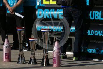 World © Octane Photographic Ltd. Formula 1 – United States GP – 6th Drivers' World Championship celebration. Mercedes AMG Petronas Motorsport AMG F1 W10 EQ Power+ - 1st, 2nd and Constructor's trophies. Circuit of the Americas (COTA), Austin, Texas, USA. Sunday 3rd November 2019.