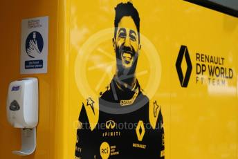 World © Octane Photographic Ltd. Formula 1 – F1 Australian Grand Prix - Setup and arrivals. Renault DP World F1 Team hand sanitiser station. Melbourne, Australia. Thursday 12th March 2020.