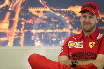 World © Octane Photographic Ltd. Formula 1 – F1 Pre-season Test 2 - Day 1 - Press Conference 2. Scuderia Ferrari – Sebastian Vettel. Circuit de Barcelona-Catalunya, Spain. Wednesday 26th February 2020.