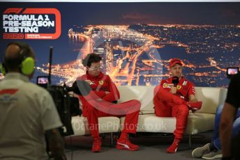 World © Octane Photographic Ltd. Formula 1 – F1 Pre-season Test 2 - Day 1 - Press Conference 2. Mattia Binotto – Team Principal of Scuderia Ferrari and Scuderia Ferrari – Sebastian Vettel. Circuit de Barcelona-Catalunya, Spain. Wednesday 26th February 2020.