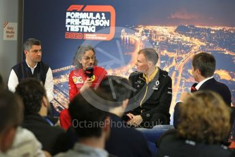 World © Octane Photographic Ltd. Formula 1 – F1 Pre-season Test 1 - Day 3 Press Conference. Michael Masi – FIA Race Director and Safety Delegate, Laurent Mekies – Sporting Director of Scuderia Ferrari and Alan Permane - Sporting Director Renault Sport F1 Team. Circuit de Barcelona-Catalunya, Spain. Friday 21st February 2020.