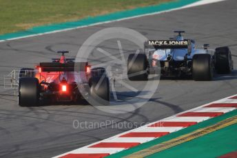 World © Octane Photographic Ltd. Formula 1 – F1 Pre-season Test 1 - Day 3. Haas F1 Team VF20 – Romain Grosjean and Scuderia Ferrari SF1000 – Sebastian Vettel. Circuit de Barcelona-Catalunya, Spain. Friday 21st February 2020.