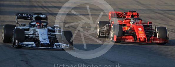 World © Octane Photographic Ltd. Formula 1 – F1 Pre-season Test 1 - Day 3. Scuderia Ferrari SF1000 – Sebastian Vettel and Scuderia AlphaTauri Honda AT01 – Daniil Kvyat. Circuit de Barcelona-Catalunya, Spain. Friday 21st February 2020.