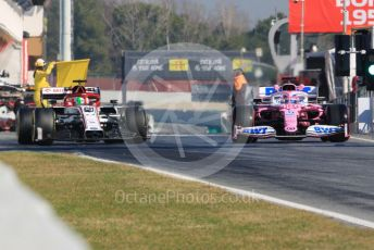 World © Octane Photographic Ltd. Formula 1 – F1 Pre-season Test 1 - Day 3. Alfa Romeo Racing Orlen C39 – Antonio Giovinazzi and BWT Racing Point F1 Team RP20 – Lance Stroll. Circuit de Barcelona-Catalunya, Spain. Friday 21st February 2020.