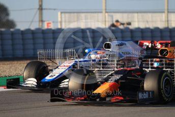 World © Octane Photographic Ltd. Formula 1 – F1 Pre-season Test 1 - Day 2. ROKiT Williams Racing FW 43 – George Russell and Aston Martin Red Bull Racing RB16 – Alexander Albon. Circuit de Barcelona-Catalunya, Spain. Thursday 20th February 2020.