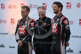 World © Octane Photographic Ltd. Formula 1 – F1 Pre-season Test 1 - Day 1. Haas F1 Team VF20 car launch – Kevin Magnussen and Romain Grosjean with Gene Haas - Founder and Chairman of Haas F1 Team. Circuit de Barcelona-Catalunya, Spain. Wednesday 19th February 2020.
