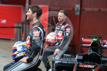 World © Octane Photographic Ltd. Formula 1 winter test 1, Haas F1 Team VF-17 physical unveil - Romain Grosjean, Circuit de Barcelona-Catalunya. Monday 27th February 2017. Digital Ref : 1779LB1D8162