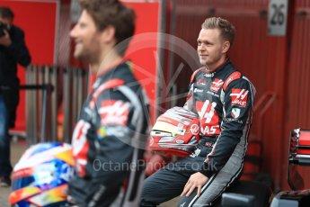 World © Octane Photographic Ltd. Formula 1 winter test 1, Haas F1 Team VF-17 physical unveil - Romain Grosjean and Kevin Magnussen, Circuit de Barcelona-Catalunya. Monday 27th February 2017. Digital Ref : 1779LB1D8168