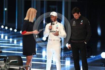 World © Octane Photographic Ltd. Formula 1 –. Mercedes AMG Petronas Motorsport AMG F1 W09 EQ Power+ launch, Lewis Hamilton and Toto Wolff (Team Principal and CEO) – Silverstone, UK. Thursday 22nd February 2018. Digital Ref :2020LB1D8095