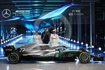 World © Octane Photographic Ltd. Formula 1 –. Mercedes AMG Petronas Motorsport AMG F1 W09 EQ Power+ launch, Lewis Hamilton, Valtteri Bottas and Toto Wolff (Team Principal and CEO) – Silverstone, UK. Thursday 22nd February 2018. Digital Ref :2020LB1D8216
