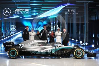 World © Octane Photographic Ltd. Formula 1 –. Mercedes AMG Petronas Motorsport AMG F1 W09 EQ Power+ launch, Lewis Hamilton, Valtteri Bottas, Toto Wolff (Team Principal and CEO), Andy Cowell (Managing Director of Mercedes AMG High Performance Powertrains) and James Allison (Technical Director) – Silverstone, UK. Thursday 22nd February 2018. Digital Ref :2020LB1D8245