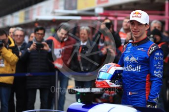 World © Octane Photographic Ltd. Formula 1 – Winter Test 1. Scuderia Toro Rosso STR13 Car Launch with Pierre Gasly. Circuit de Barcelona-Catalunya, Spain. Monday 26th February 2018.