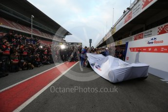 World © Octane Photographic Ltd. Formula 1 – Winter Test 1. Scuderia Toro Rosso STR13 Car Launch with Brendon Hartley and Pierre Gasly. Circuit de Barcelona-Catalunya, Spain. Monday 26th February 2018.