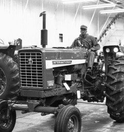 a worker drives a later model farmall 656 off the line on november 15 1968 note that the side panel sports the international label and farmall has  [ 3816 x 3063 Pixel ]
