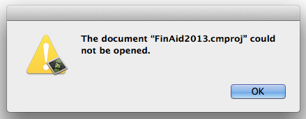 Cannot open document - camtasia