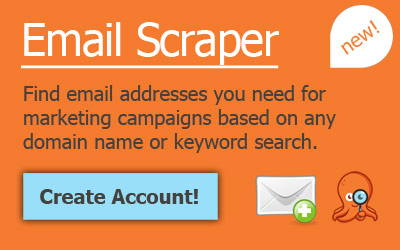Find email addresses you need for marketing campaigns based on domain name or keyword search