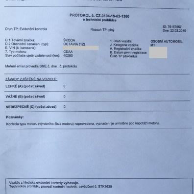 Protokol o Evidenční kontrole na stanici STK pro převod auta na jiného majitele