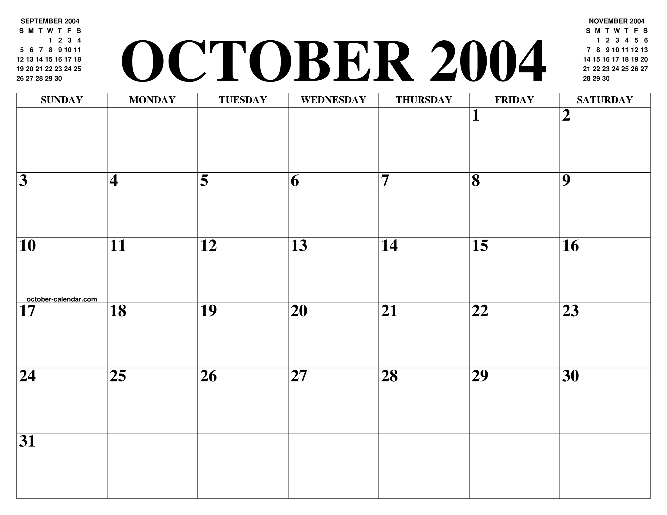 OCTOBER 2004 CALENDAR OF THE MONTH: FREE PRINTABLE OCTOBER ...