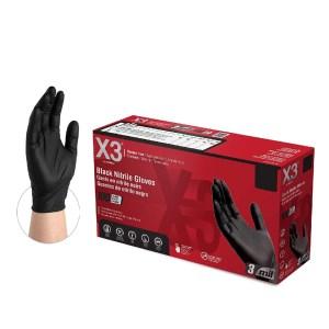 BX3 Industrial Black Nitrile Gloves Case of 5