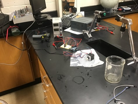 A picture of my lab setup to test submerging a stepper motor.