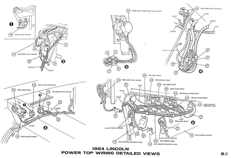 service panel wiring diagram 1999 ford mustang fuel pump 1964 lincoln continental - convertible power top mechanism documentation