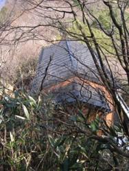 犬越路避難小屋が見えてきた