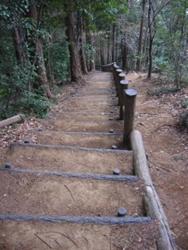 急な階段を下り
