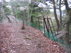 鹿柵があるがここは道なり