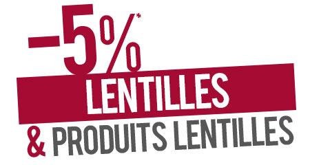 -5% de remise sur les lentilles et produits lentilles